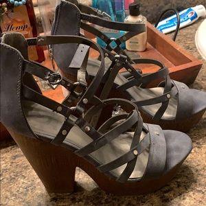 Grayish blue strappy 4 inch heels